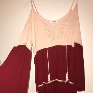 pink and red flowy dress